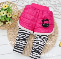 Wholesale free shipping baby new female models thick stripe down the rabbit fur leggings children girl leggings children pants