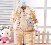 2013 new winter Stupid bear two sets of cotton for girl and boy baby bodysuits overall outfit wholesale clothing