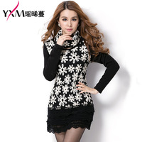 2013 Autumn Winter dress Ladies Good Quality Long Sleeves Render dress with long sleeves and thick velvet dress