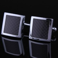 High Quality Mens Stainless Steel Silver Black carbon fiber Square Wedding Cufflinks Free Shipping Promotion