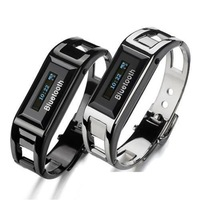 Cellphone Mobile Phone Bluetooth steel wristband bracelet Watch vibrate with caller ID Black &Silver