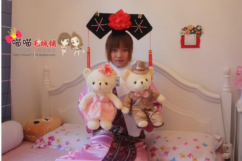 One pair Bear Teddy Bear Wedding Couple presses doll plush toy bear doll wedding gift wedding gift(China (Mainland))