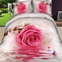 big pink Rose water printed luxury bedding set 3d Swan bed Linen Duvet/Quilt/comforter cover pillow sham sets free fast shipping