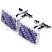 Purple stripe print slanting fashion brief rectangle male cufflinks nail sleeve gift