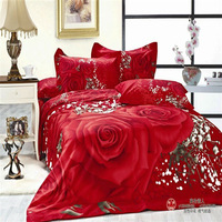 red Rose printed unique 4pc bedding set 3d bedcover queen size Duvet/comforter/quilt cover pillowcase and bed sheet sets Cotton