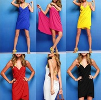 New Summer cotton Beach skirt women's Sundress cover-up/holiday candy colored sexy spaghetti strap dress suspender skirt/WOJ