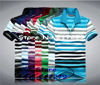 Tomy/ brand men Fashion stripe  T-shirt  / 2014 new short-sleeved shirt stripe t-shirts lapel men  casual T-shirt  8 color
