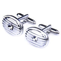 Dream silver thread white crystal oval shape French cufflinks nail sleeve male