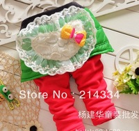 Wholesale free shipping baby new Cute love sweet lace bow down culottes baby grils leggings  children pants