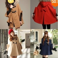 Ladies fashion 2014 new overcoat,woman stylish jackets!Fashion Women Cape Poncho Cloak Winter Trench Coat Hoodies Outerwear