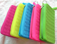 Hot-selling candy color silicone zipper key wallet clutch soft coin bag mobile phone bag cosmetic bag 10pcs/lot free shipping