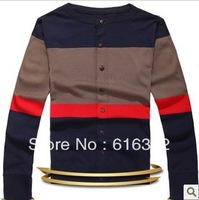 2013 New fashion stripe splicing han edition slim men sweater cardigan 2111