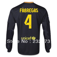 New 13/14 BFC 3rd Third #4 Fabregas Long sleeve Jersey Black 2013-2014 Cheap Soccer Unforms Football kit free shipping