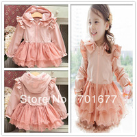 Fashion Pink Patchwork Draped Lacework Hooded Zipper Dress For Girls Party Dresses Outerwear Children Clothing 6#13120412