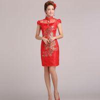 Cheongsam the bride wedding dress vintage fashion short design red lace evening dress cheongsam dress