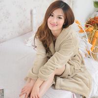 Winter coral fleece robe heart women's long-sleeve bathrobes thickening plus size home casual sleepwear