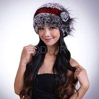 Genuine Rex Rabbit Fur Fashion Flower Knit Cap  in Stock QD29530  Hot Sell
