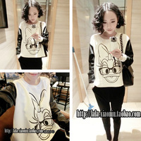 2013 autumn women's beautiful patchwork donald duck print long-sleeve sweatshirt