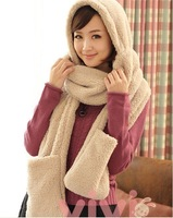 2014 new Free Shipping Wholesale New Style Thicken Lamb Double Sweetheart Multiple Functions Thermal Woolen Cap for Winter