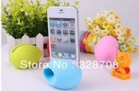 Hot sale no power speaker for phone in egg shape , silicone speaker for phone 4 4s 5 400pcs/Lot