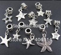Wholesale - 140pc Tibetan Silver Mixed Star Shape Starfish Charm Bead Fit European Bracelet Jewelry DIY 13021634