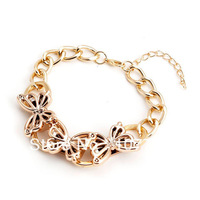 Free Shipping!Fashion Cheap Wholesale Gold CCB Butterfly Chunky Charm Chain Bracelets & Bangles For Women Fashion Jewelry