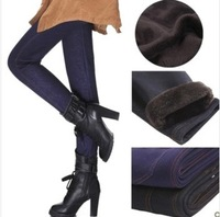 2013 autumn and winter female plus velvet thickening warm pants plus size slim faux denim basic casual pants