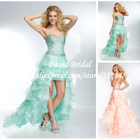 Fashion Design Beading Organza Aqua Ruffled High Low Prom Dresses 2014 New HE679