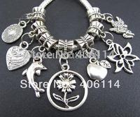 140p Mix Tibetan Silver Heart Lucky Flower Apple Angle Dolphin Sets Pendants Beads Fit Charm Bracelet Jewelry DIY