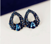 2pairs/lot European Style Vintage Golden Alloy Full Royalblue Rhinestone Hollow Out Drop Shape Ear Stud Earring