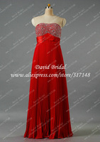Free Shipping Beaded Strapless Empire Waist Pleated Chiffon Prom Dresses Red Long R1249