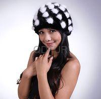 2014 Women's Genuine Knitted Mink Fur Beanies Hats  Winter Sweet Girl Fashion Dot  Knit Cap Touca  QD29536