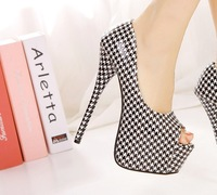 Fashion office lady open toe Plaid Shining Platform High Heel Sandals Wedding Prom Pumps DX221