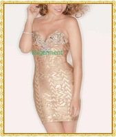Free Shipping High Quality Winter Dress Gold Strapless Bling Bling Wedding Dress