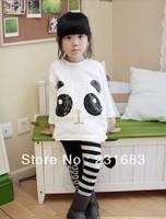Free shipping -5sets/lot -2pcs baby clothing suits-Girls sequined panda bat sleeve loose bottoming shirt + striped leggings