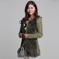 2013 winter ol women's elegant wadded jacket rabbit fur patchwork fashion slim
