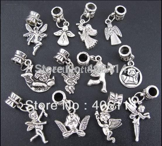 Mixed 120pcs Tibetan Silver Prayer Angel Boy Girl Cupid Sets Charms Pendants Beads Fit European