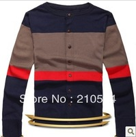 New fashion stripe splicing han edition slim men sweater cardigan 2111