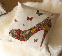 "Kim Store! Modern Butterfly High Heels Linen Home Decorative Cushion Throw Pillow for Sofa Car Cushion 17""*17"" (with filler)"