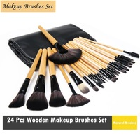 24 Pcs Wooden Makeup Brushes Set  Powder Brushes with Bag Professinal Brush Natural Brush For Ladies and Women