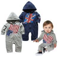 new 2013 infant romper  Spring and autumn handsome boy modeling Flag Hooded Romper Romper Wholesale