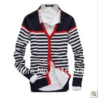 New fashion and comfortable leisure pinstripe splicing men sweater cardigan 2111