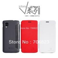 20pcs Original V-Series Nillkin flip Leather phone case shell cover for LG Nexus 5+20pcs screen films