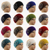 Women Girls Winter Crochet handmade 3D Flower Knit Headband Neck Warmer Wrap