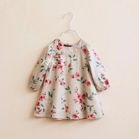 free shipping  CS3172  2014 spring autumn girl cotton printed shirt baby floral blouse  18m-5y