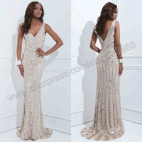 Art Deco Inspired Column Gown By Tony Bowls New Evening Dress 2014 With Silver Crystals