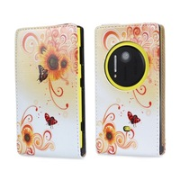 2014 New Luxury Plain Style Flower Leather Flip Case For Nokia EOS Lumia 1020 Free shipping