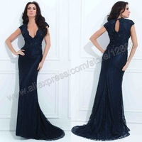 Tony Bowls TBE11410 Sequin and Lace Gown with Cap Sleeves Navy Blue Lace Evening Dress 2014 New