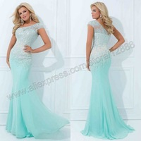 Tony Bowls TBE11439 Asymmetrical Flowing Mermaid Gown Cap Seelve One Shoulder Evening Dress 2014 New