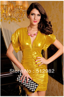 Shining Deep V-neck  Ladies elasticity sexy dress Women fashion nightclub formal evening full gorgeous dresses